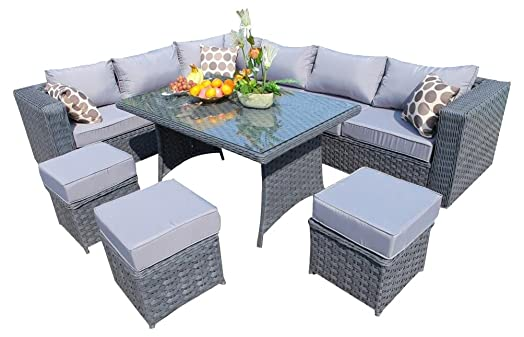 yakoe 9 seater papaver range rattan garden furniture corner sofa and dining set with rain cover - Garden Furniture Corner Sofa