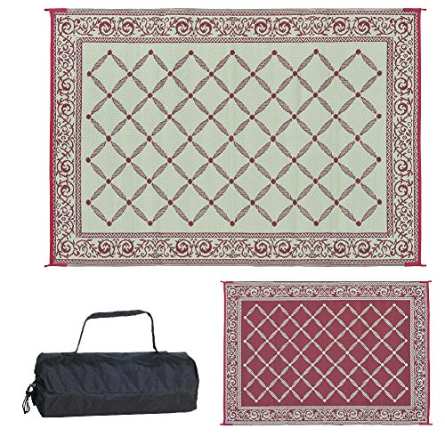 (Reversible Mats 116095 Outdoor Patio 6-Feet x 9-Feet, Burgundy/Beige RV Camping Mat)