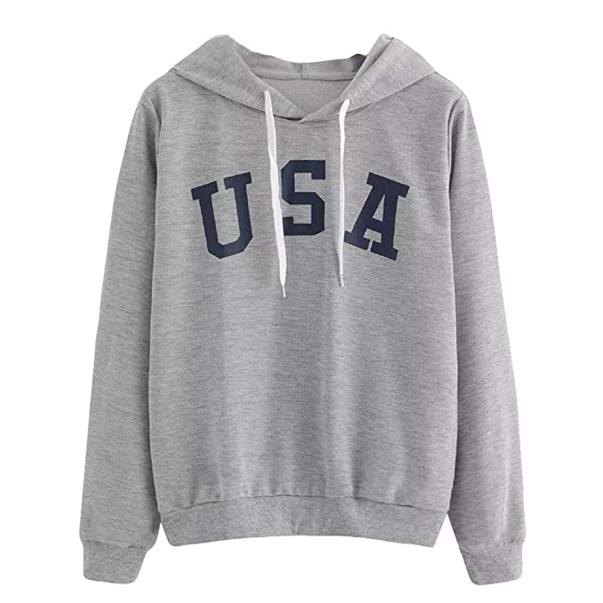 Womens Hoodie, USA Letter Flag Printed Sweatshirt Baggy Long Sleeve Pullover Tops Blouse at Amazon Womens Clothing store:
