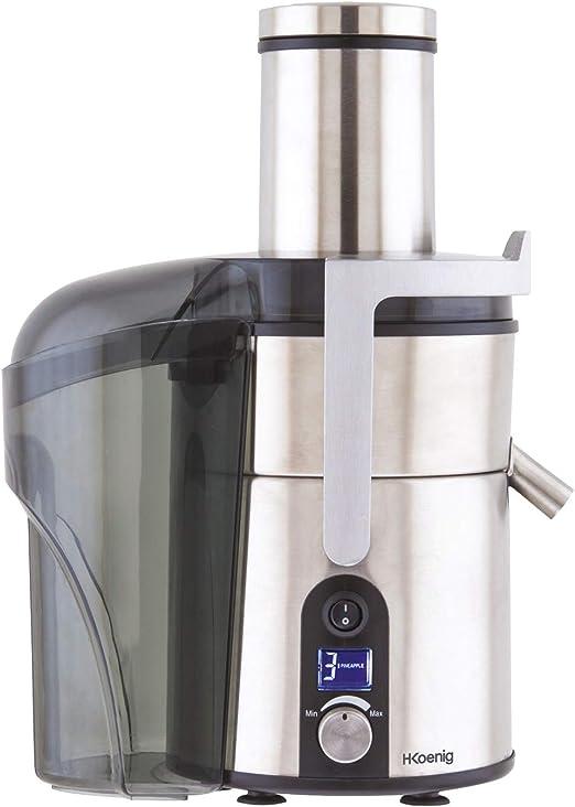 H.Koenig GS32 Entsafter Saftpresse Obstpresse Fruchtentsafter 1 Liter 5 Geschwindigkeitsstufen 1200 W Edelstahl