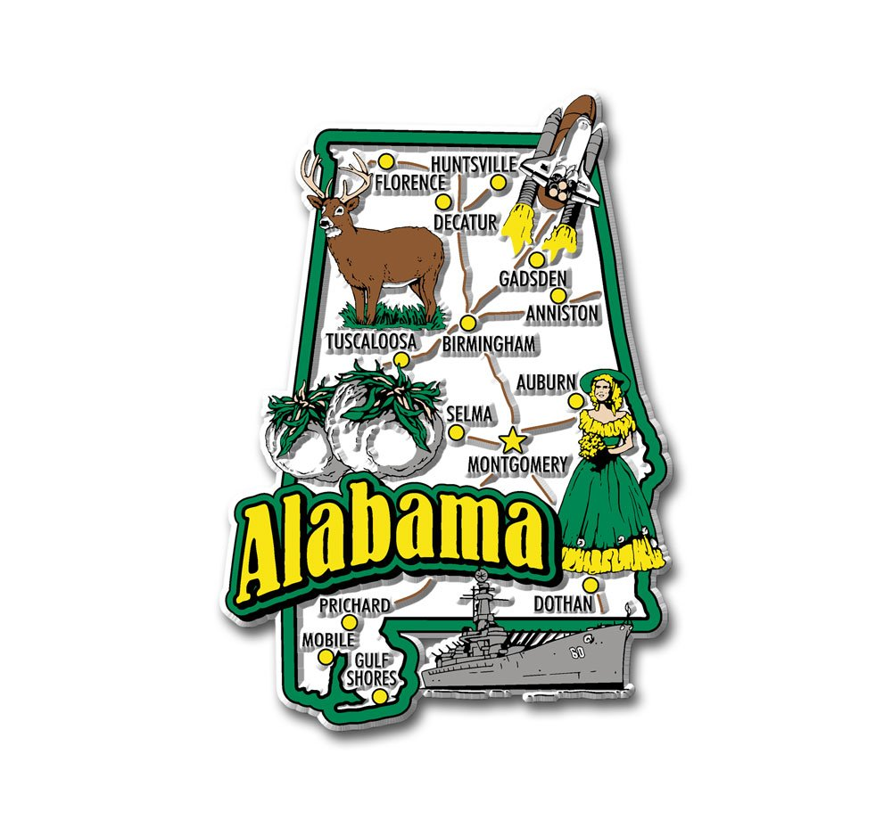 Alabama State Jumbo Map Magnet