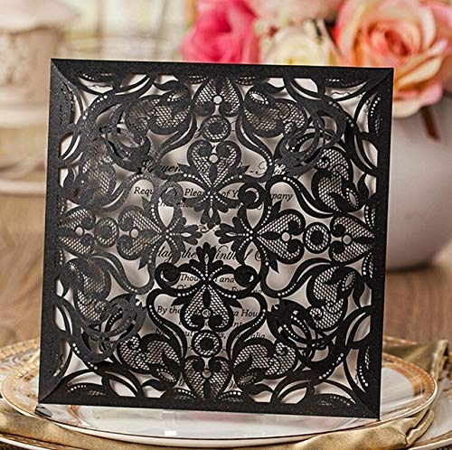 BeesClover 100pcs Square Black Laser-Cut Lace Flower Pattern Customizable Printable Wedding Invitations Cards, CW519_BL Black Blank