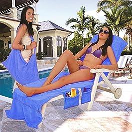 Hillington ® Beach Towel with Side Pockets (Blue)