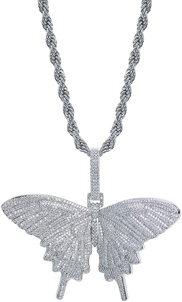 TOPGRILLZ Fully Iced Out Lab Diamond 3D Butterfly Pendant Necklace for Men and Women Birthday Gifts
