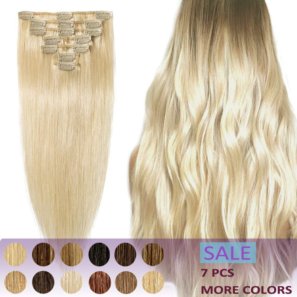 22 Inch Remy Clip in Hair Extensions 7pcs Clip on Human Hair 65-75g Strong Machine Weft Silky Straight for Women Fashion Beauty #60 Platinum Blonde by Hairro