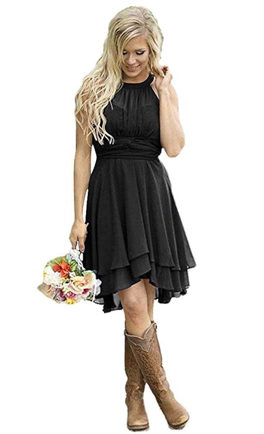 Graceprom Womens Country Halter Chiffon Bridesmaid Dress Western