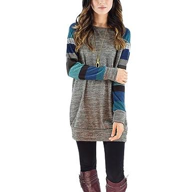 wenyujh Damen Kleid Herbst Langarm Kleid Pullover Lang Sweatshirt Jumper  Kleid Patch Design mit Streifen 348c7ffb50