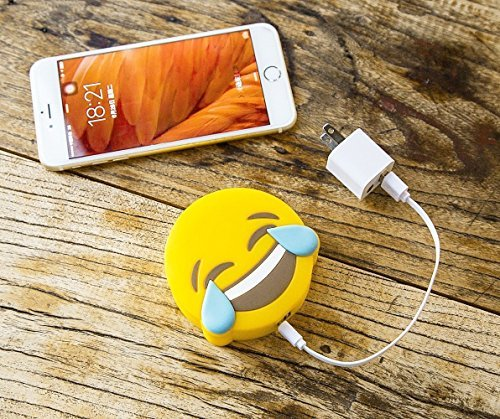 HOT NEW Seller 2200mAh Emoji Cute Funny Cartoon Gift External Battery Portable Charger Backup Pack Power Bank for iPhone 6 6S Plus 5S 5C SE 4S Samsung Galaxy S7 S6 Edge S5 Note and More (Tears of Joy)