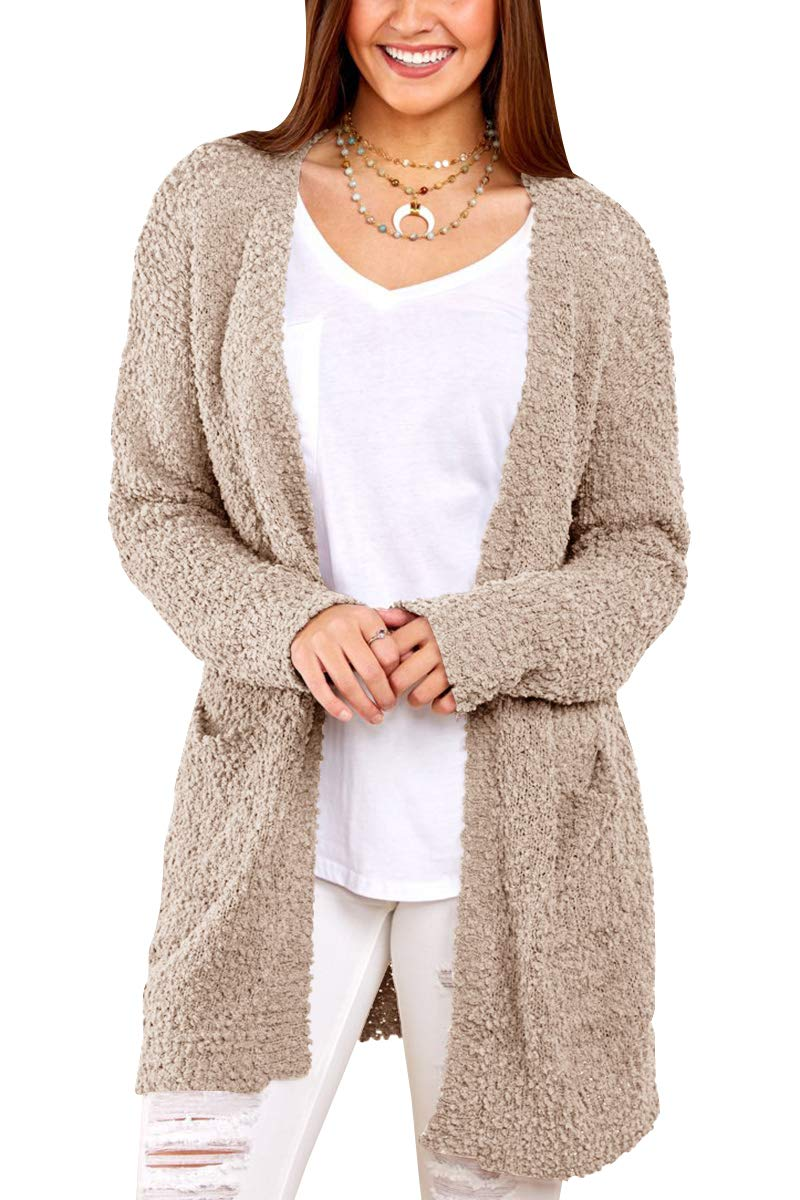 Womens Long Oversized Open Front Cardigan Sweater Fall Fuzzy Wrap Coat Sherpa Jacket with Pockets