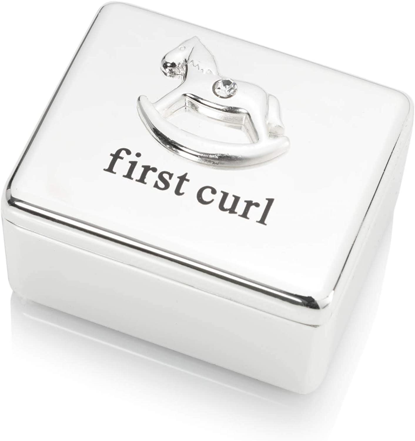 The Gift Experience Bambino Silverplated First Curl Keepsake Box