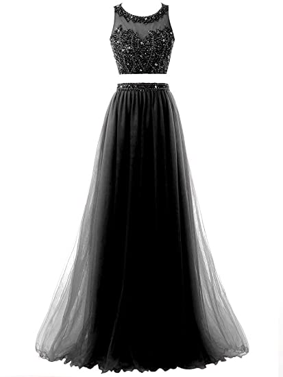 Solovedress Womens Two 2 Pieces Beaded Long Prom Dress Tulle Formal Evening Gown (Black,