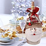"""Large Size 3D Christmas Santa Claus Gift Wine Bag with Cord Drawstring Cute Holiday Festive Xmas Decorations Gift Bottle Red Wine Candy Bags 6.5""""x13"""""""
