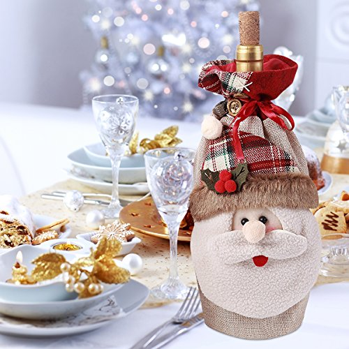 Large Size 3D Christmas Santa Claus Gift Wine Bag with Cord Drawstring Cute Holiday Festive Xmas Decorations Gift Bottle Red Wine Candy Bags 6.5