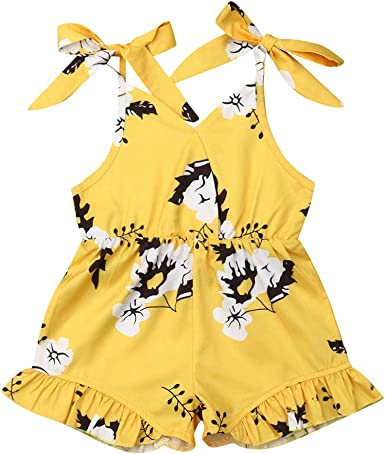 Toddler Kids Baby Girls Sleeveless Floral Romper Jumpsuit Clothes Outfits Summer
