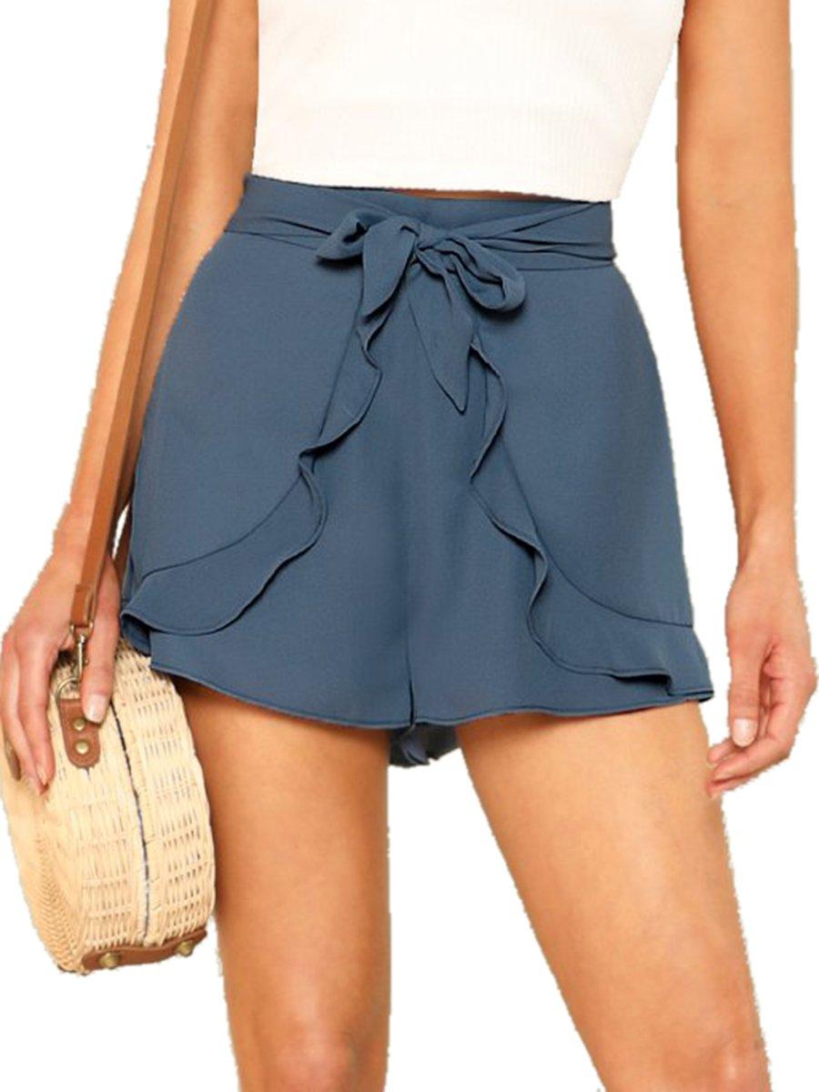 Romwe Women's Casual Tie Knot Summer Shorts Elegant Walking Shorts Blue XS