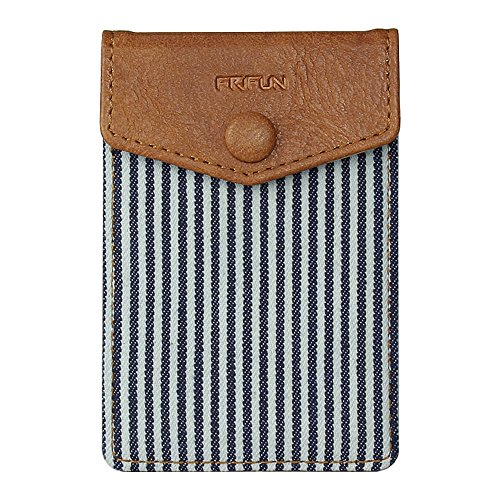 FRIFUN FR1asd Cell Phone Wallet Ultra-Slim Self Adhesive Credit Card Holder Stick on Wallet Cell Phone Leather Wallet for Smartphones RFID Blocking Sleeve Covers Credit Cards (Stripe) ...