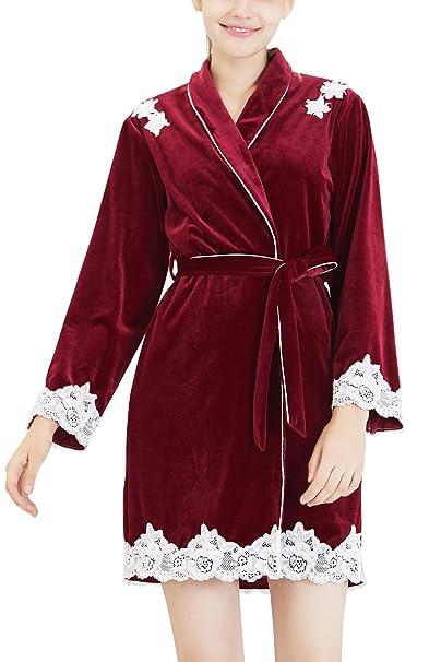 YAOMEI Kimono Albornoz para Mujer, Invierno Terciopelo Cordón Camisón Robe Albornoz Dama de Honor Ropa