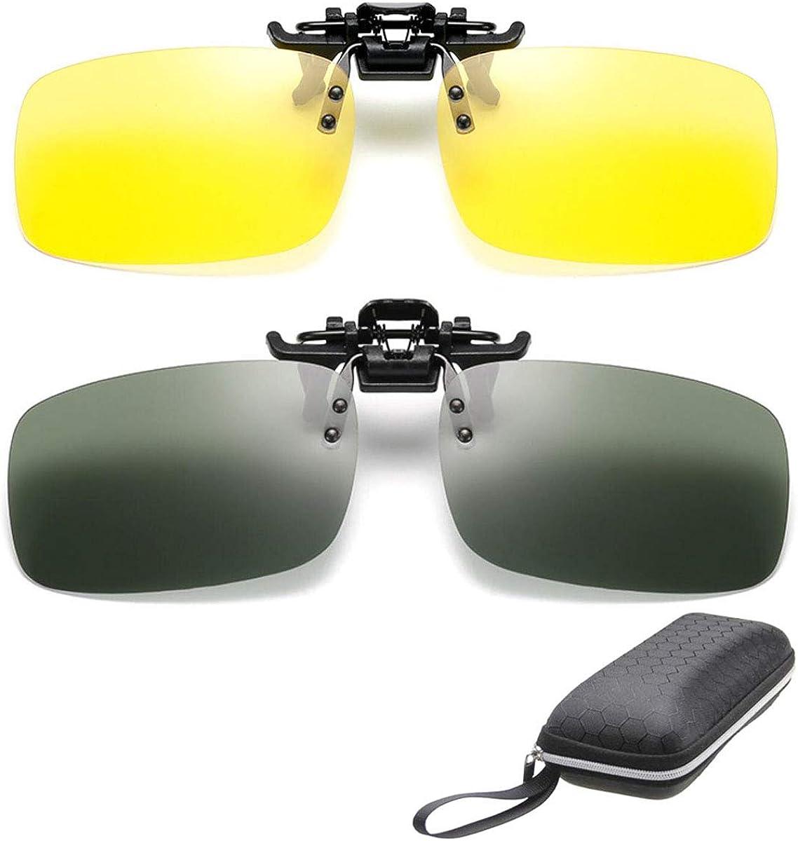 2 pares de gafas de sol Clip On Flip Up gafas de visión nocturna antideslumbrante polarizadas para hombres mujeres UV400 mejor para conducir Golf Shooting Caza de pesca deportes al aire libre