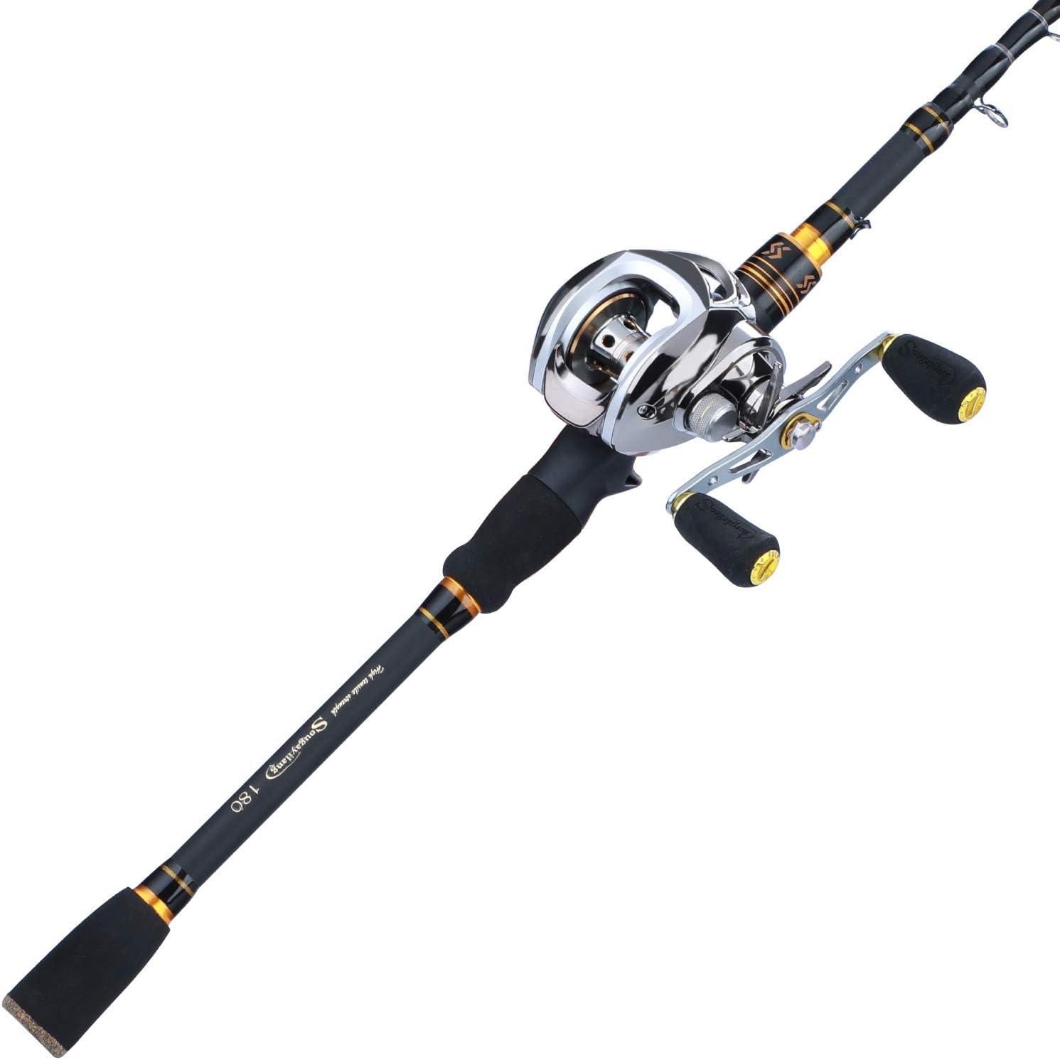 Sougayilang Baitcaster Fishing Rod and Reel Combo, Ultra Light Baitcasting Fishing Reel for Travel Saltwater Freshwater and Beginner 5.9FT/6.9FT