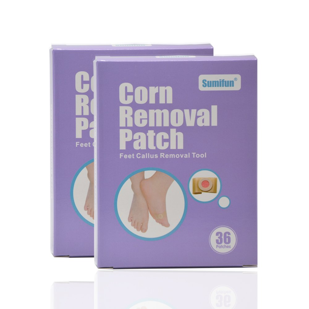 Sumifun Corn Removal Patch, Foot Corn Removal Calluses Pads, Foot Pad Salicylic Acid Patch Relaxation Pain Relief Feet Massager& Foot Callus Removal Tools 72PCS/ 2Box