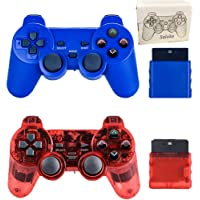 Saloke 2 Packs Wireless Gaming Console for Ps2 Double Shock (Blue and Clear Red)