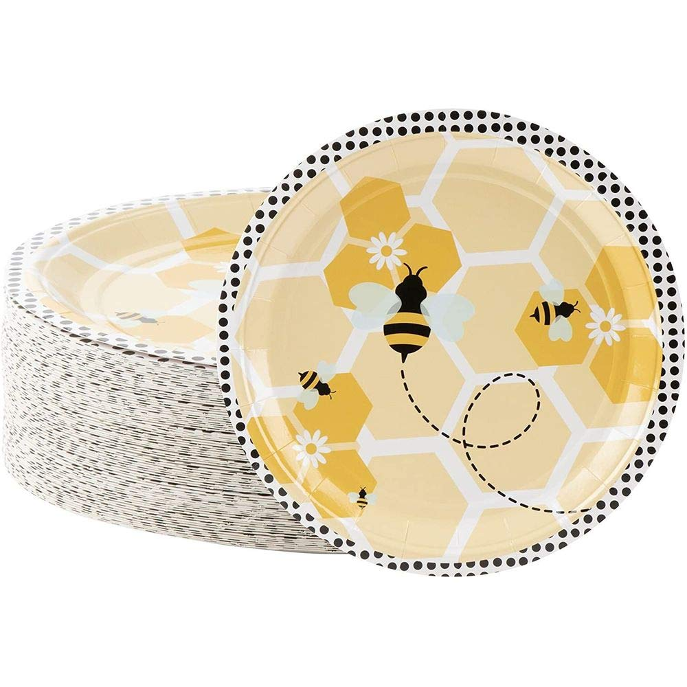 Disposable Plates - 80-Count Paper Plates, Bumble Bee Party Supplies for Appetizer, Lunch, Dinner, and Dessert, Kids Birthdays, 9 x 9 Inches