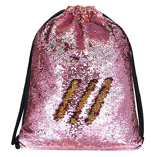 Alritz Mermaid Sequin Drawstring Bag, Reversible Sequin Backpack Glittering Outdoor Shoulder Bag for Girls Boys Women (Pink/Gold)