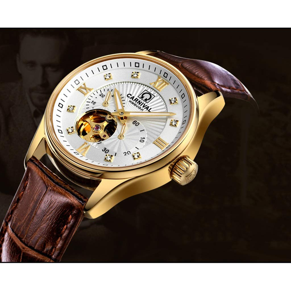CARNIVAL herrklocka, automatiska mekaniska klockor 24-timmars skala affärsstil vattenresistens armbandsur 8612G Leather Strap - Gold White