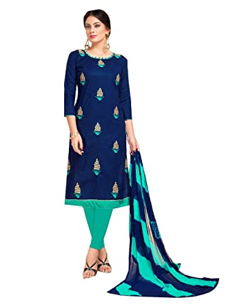 a104d399c9 Shree Ganesh Retail Womens Lone Cotton With Embroidery Churidar Material |  Salwar Suit | Salwar Kameez