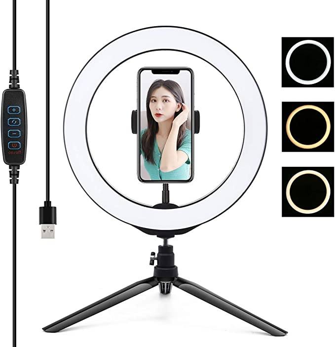 YouTube Camera// 6.2 USB 3 Modes Dimmable LED Ring Vlogging Photography Video Lights Color Temperature 3200K-6500K