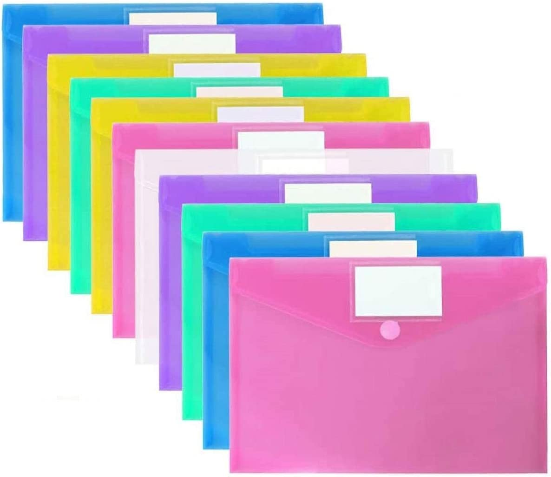 12 Piezas de Carpetas de Archivos de Plástico Transparente, A4 Portafolios Documentos Sobre de Tamaño con Botón a Presión para la Escuela, Hogar, Oficina, Organización