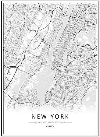 Lufa Londres New York Paris Toile Peinture Murale Du Monde Carte De La Ville Affiche Blanche Noire Résumé Squelette Huile Unframed Dessin