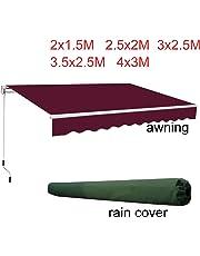 Greenbay DIY Patio Retractable Standard Manual Awning Garden Sun Shade Canopy Gazebo With Free Green Rain Cover
