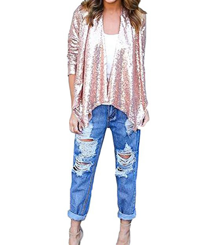 Women'S Gold Shiny Sequin Irregular Hem Jacket Tops Drape Fall Cardigan