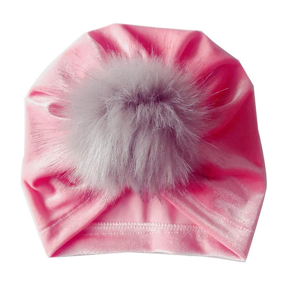 Kasien Kids Baby Hat, Newborn Toddler Kids Baby Boy Girl Venonat Turban Beanie Hat Headwear Hat (Pink)