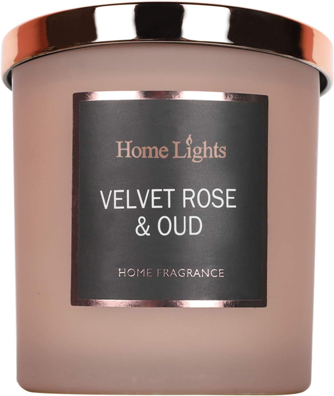 Home Lights Luxury Scented Candle, 7.19 oz, Natural Soy Wax, Home Fragrance Decor Gift, Velvet Rose Oud, Medium Jar