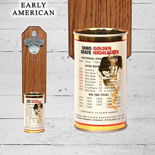 Wall Mounted Bottle Opener with Vintage Gambrinus Ohio State Buckeye Beer Can Cap ()