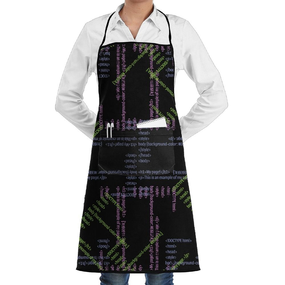 Polyester Kitchen Apron Cooking Baking Garden Chef Apron Bib With Pocket For Women Funny Code Patterns