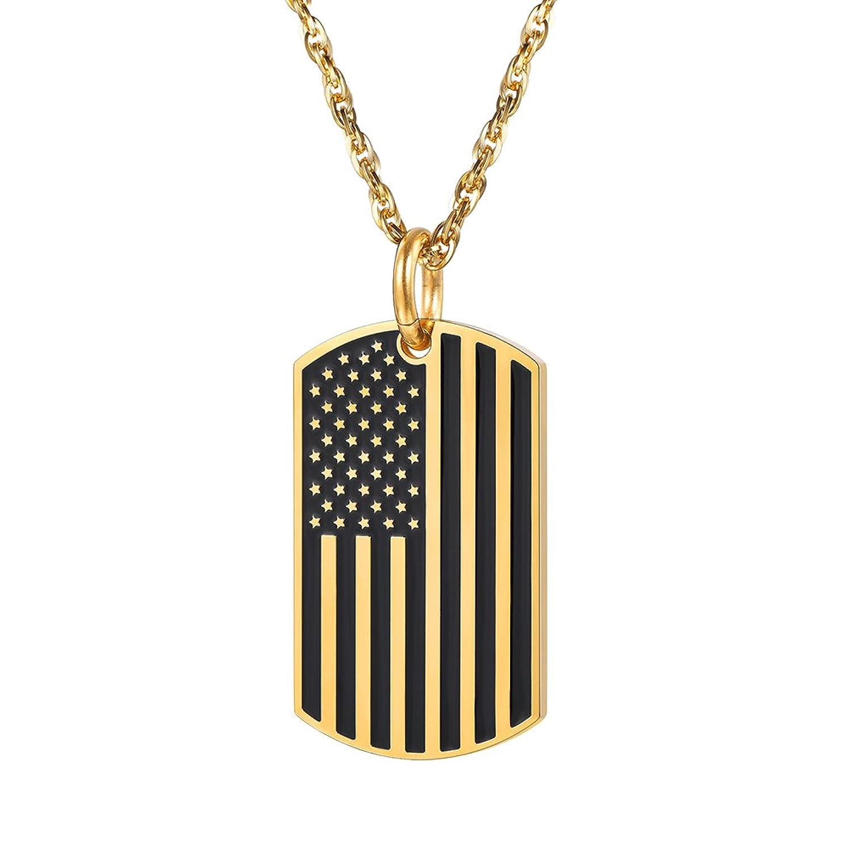 4006e7e20b En venta Collar con colgante de la bandera estadounidense de Prosteel con  diseño de estrellas y ...
