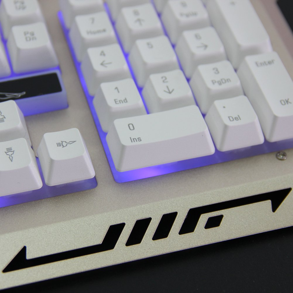 Broadroot Cool Multimedia 3 colores LED BackLight USB Wired Gaming Metal teclado PC: Amazon.es: Electrónica