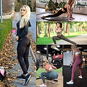 HLTPRO High Waist Yoga Pants with Pockets for Women – Tummy Control Running Exercise Workout Leggings