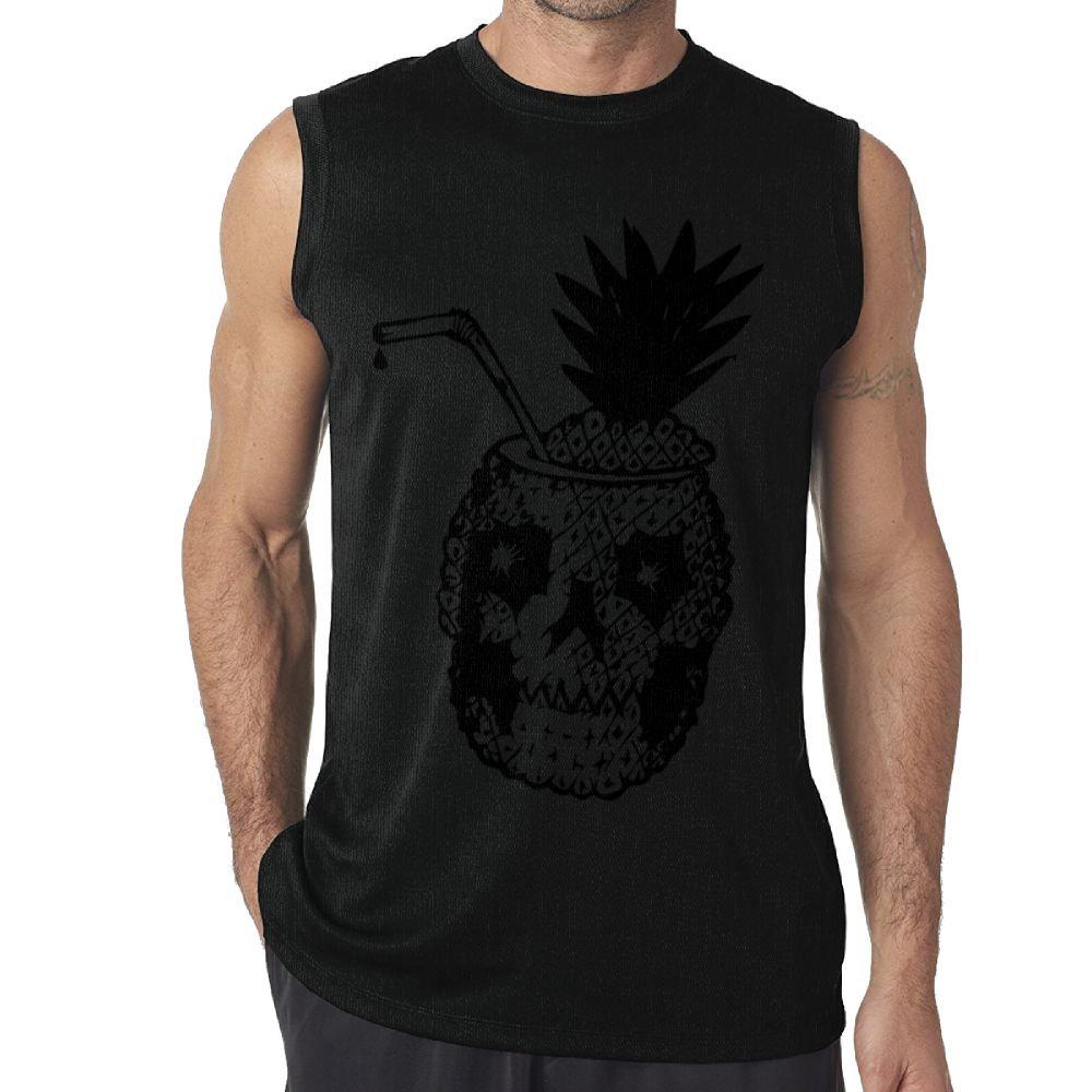 Riokk Az Sleeveless Tanks Top T-Shirt Fit Mens A Black Melancholy Skull Pineapple Cotton