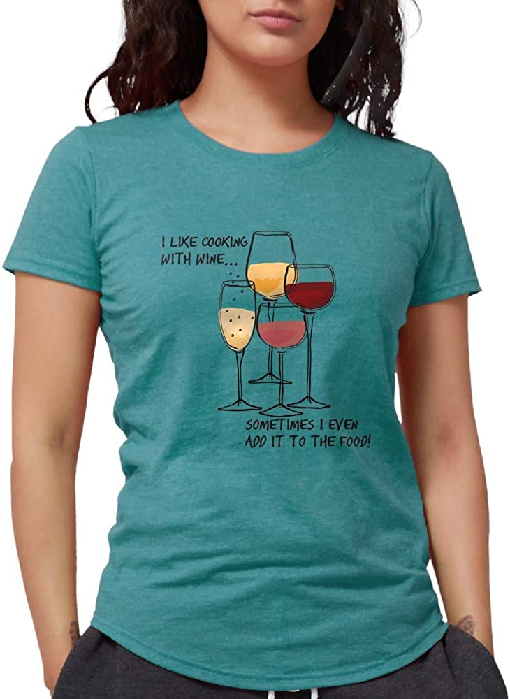 CafePress I Like Cooking with Wine.Sometimes Tri-Blend Tee