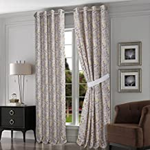 Tribeca Living FIJICGCS84 Fiji Chocolate-Grey Lined Cotton Grommet Top Curtain Panel Pair with Tiebacks, 84-Inch