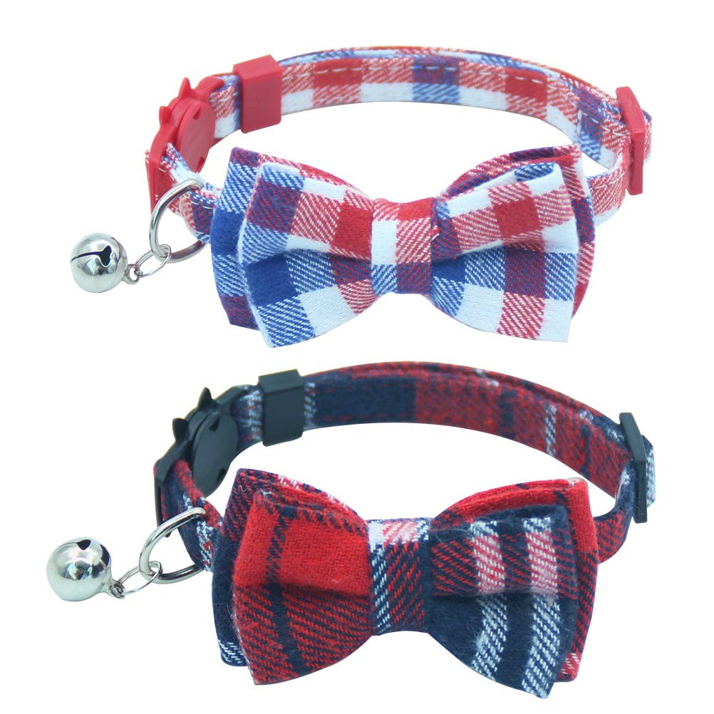 OFPUPPY 2 Pack/Set Plaid Cat Collar Breakaway with Cute Bowtie & Bell for kitty, Adjustable 7.8-10.2''