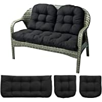 Indoor Outdoor 3 Piece Bench Cushion Set, 43″ Wicker Settee Cushion with 2 Backrests Patio Wicker Seat Cushions Loveseat Recliner Cushions (Black)