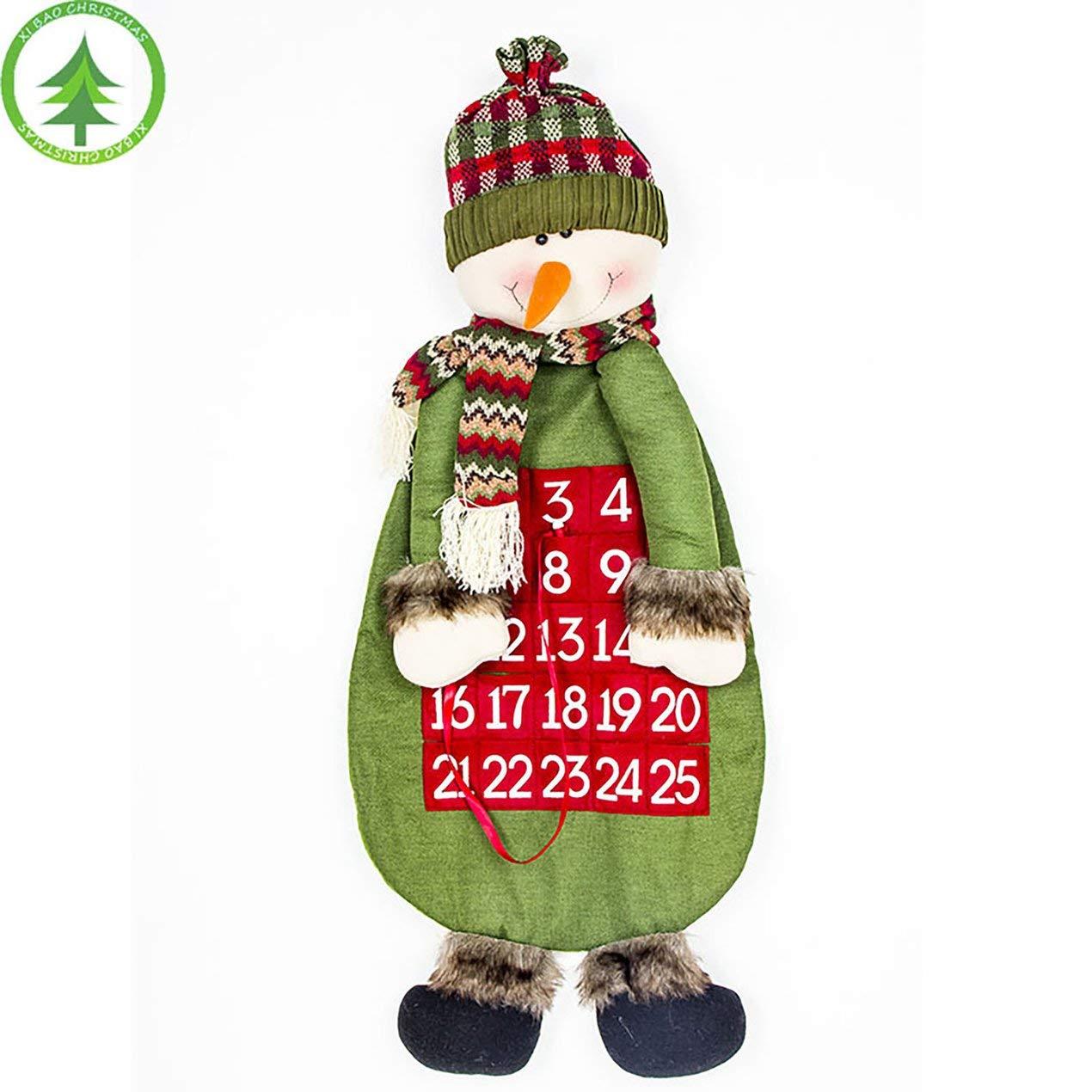 Decoración de Navidad Calendario Creativo de Dibujos Animados Muñeco de Nieve Elk Paño Calendario Muñeca Decoraciones de Juguete Inicio Adorno Colgante