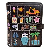 Shag Wear Women's Small Zipper Wallet Summer Icons Black