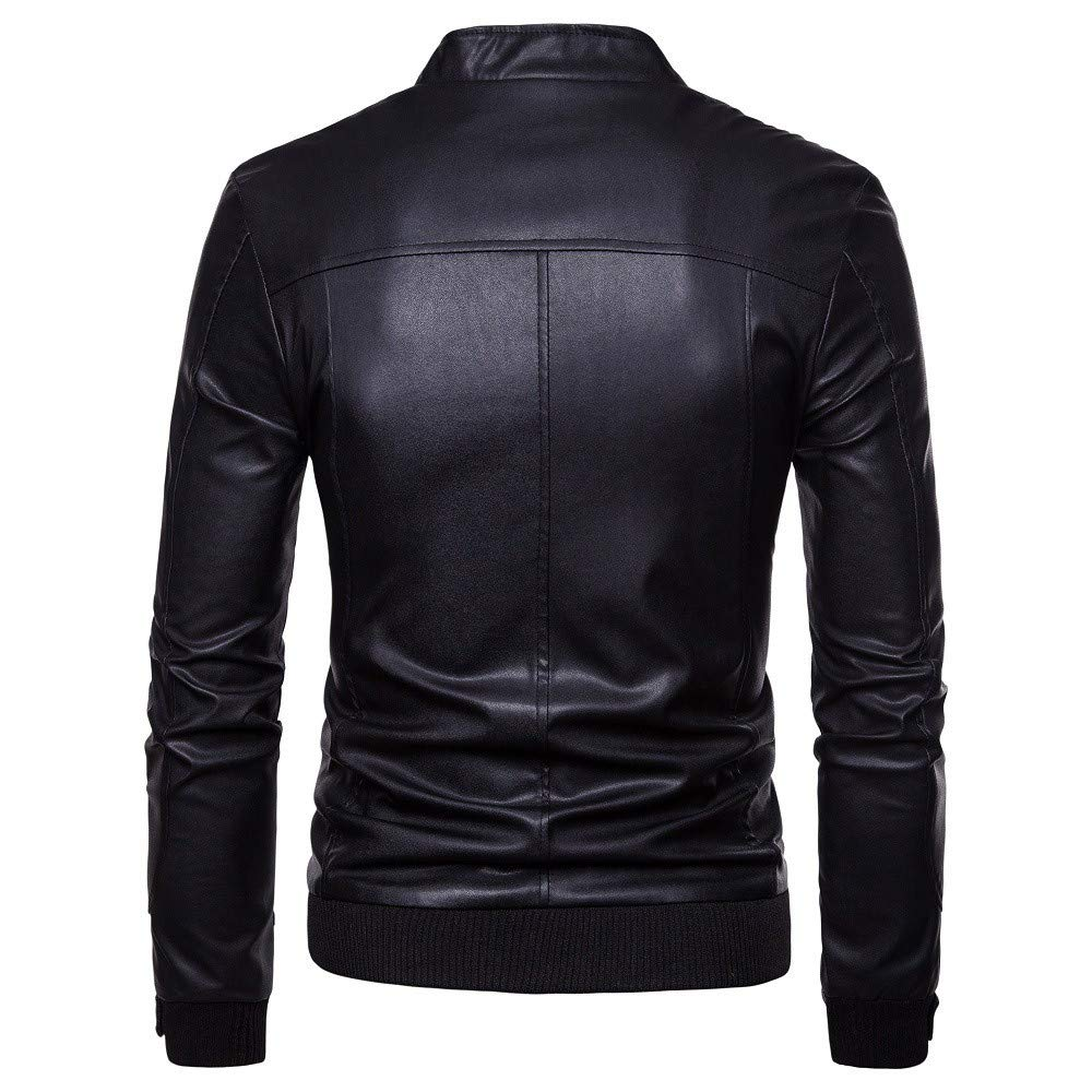 YKARITIANNA Fashion Mens Solid Faux Leather Autumn Winter Casual Zipper Thermal Leather Warm Jackets Coats Tops