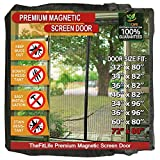 TheFitLife Magnetic Screen Door - Heavy Duty Mesh Curtain with Full Frame Hook and Loop Powerful Magnets That Snap Shut Automatically - 74''x81'' - Fits Doors up to 72''x80'' Max